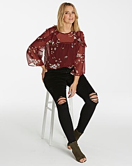 Claret Soft Ruffle 3/4 Sleeve Top