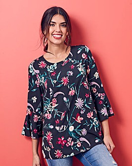 Black Floral 3/4 Fluted Sleeve Blouse