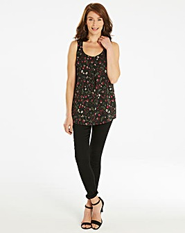 Black Floral Sleeveless Vest Top