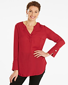 Cranberry Oversized Shirt with PearlTrim