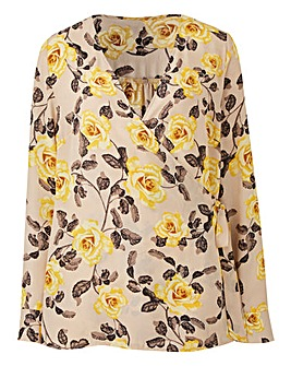 Rose Print Tie Wrap Blouse