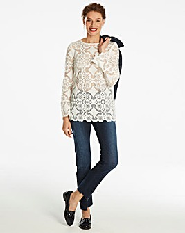 White Lace Top With Soft Fluted Sleeve