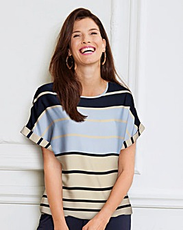 Stripe Boxy Top With Curved Hemline