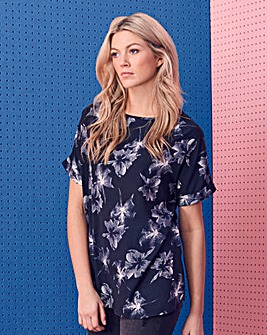 Navy Print Boxy Top With Curved Hemline
