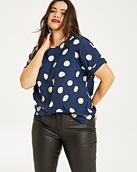 Spot Boxy Top With Curved Hemline