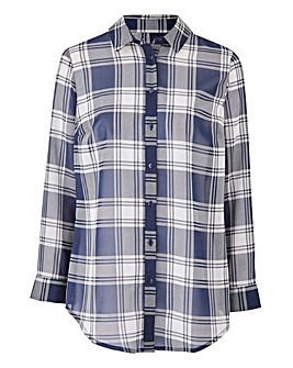 Navy Check Shirt With Tie Sleeve Detail