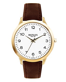 Gents Gold Tone Watch With Brown Strap