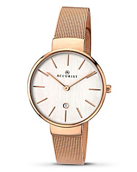 Accurist Ladies Rose Tone Watch