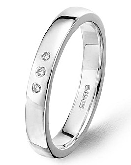 Argentium Silver 3 Diamonds Wedding Band