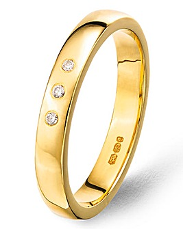9ct Gold Plated Diamond Wedding Band