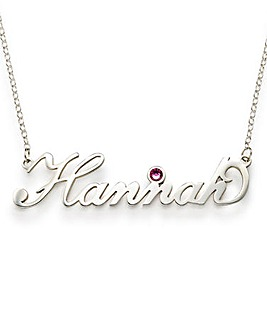 Sterling Silver Nameplate And Birthstone