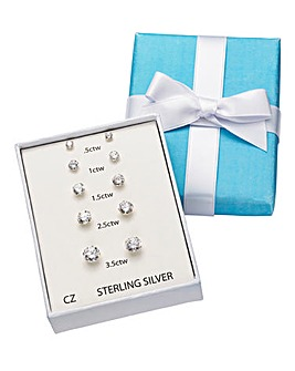 Five Piece Sterling Silver Earring Set