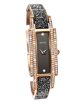 Seksy Ladies Rectangular Rose Tone Watch