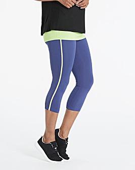 Contrast Piped Sports Capri Legging