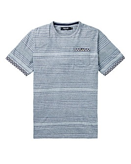 Black Label Stripe Jacquard Trim Tee L