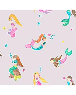 Mermaid World Lilac Glitter Wallpaper