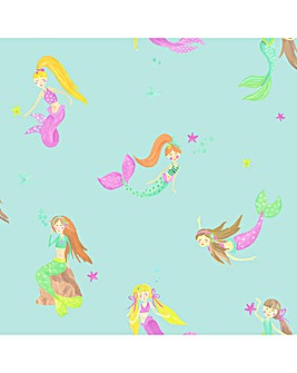 Mermaid World Teal Glitter Wallpapaer