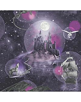 Magical Kingdom Purple Glitter Wallpaper