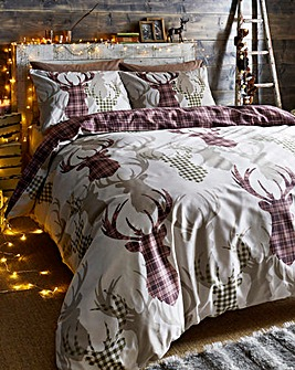 Tartan Stag Natural Duvet Cover Set