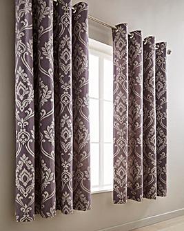 Baroque Jacquard Mauve Lined Curtains