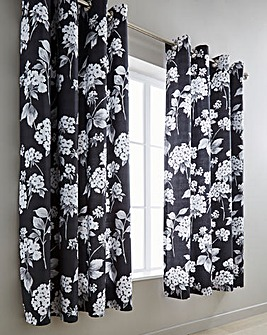 Catherine Lined Black Eyelet Curtains