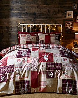 Christmas Stag Patchwork Duvet Cover Set