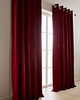 Crushed Velvet Lined Eyelet Curtains