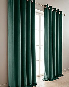 Heavyweight Velour Lined Eyelet Curtains