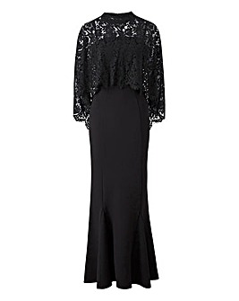 Joanna Hope Lace Cape Maxi Dress