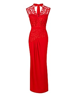 Joanna Hope Lace Trim Maxi Dress