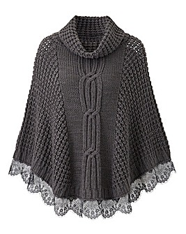 Joanna Hope Lace Trim Poncho