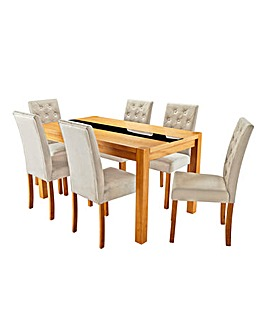 Oakham Glass Panel Table 6 Grace Chairs