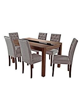 Oakham Glass Panel Table 6 Grace Chairs