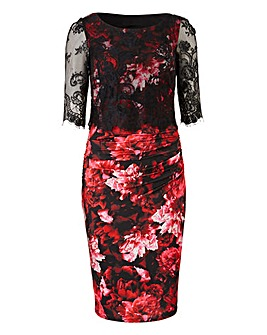 Joanna Hope Print Lace Trim Dress