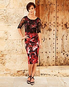 Joanna Hope Print Lace Trim Dress