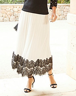 Joanna Hope Lace Trim Pleated Maxi Skirt