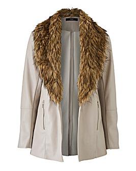Joanna Hope Faux Fur PU Jacket