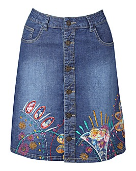 Joe Browns Denim Button Through Skirt