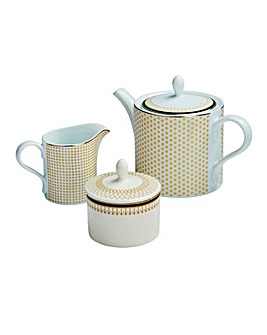 Portmeirion Metallic 3pc Teapot Set
