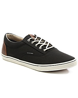 Jack Jones Black Canvas Lace Up Trainer