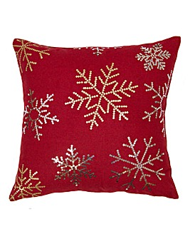 Sequin Snowflakes Cushion Red
