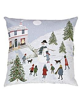 Snowman Jacquard Cushion