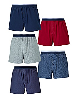 Capsule Pack of 5 Jersey Print Boxers
