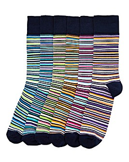 Capsule Stripe Pack of 6 Socks