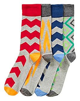 Capsule Pack of 4 Geo Print Socks