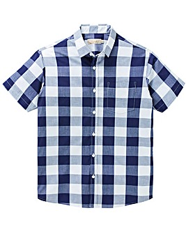W&B Navy Short Sleeve Check Shirt R