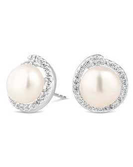 Simply silver pearl twist earring