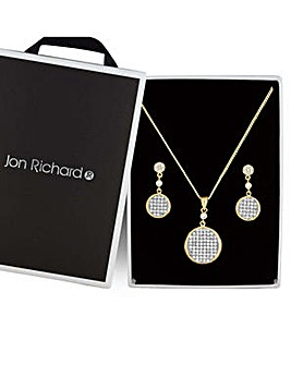 Jon Richard pave disc jewellery set