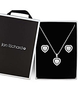 Jon Richard pave heart jewellery set