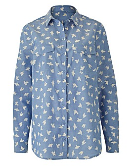 Bird Print Chambray Shirt